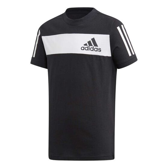 adidas Boys Sport ID Tee, Black / White, rebel_hi-res