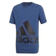 adidas Boys Essentials Big Logo Tee Blue / Black 6, Blue / Black, rebel_hi-res