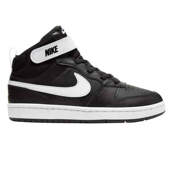 Nike Court Borough Mid 2 Kids Casual Shoes, Black / White, rebel_hi-res