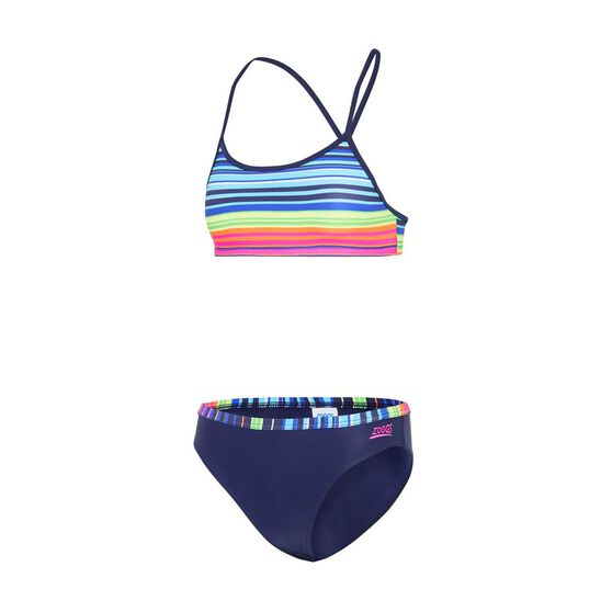 Zoggs Girls Mexistripe 2 Piece Swimsuit, , rebel_hi-res