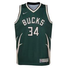 Nike Milwaukee Bucks Giannis Antetokounmpo 2020/21 Kids Earned Jersey Green S, Green, rebel_hi-res