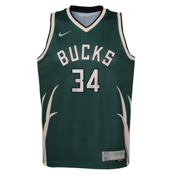 Nike Milwaukee Bucks Giannis Antetokounmpo 2020/21 Kids Earned Jersey, Green, rebel_hi-res