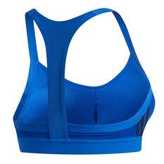 adidas Womens All Me 3 Stripes Sports Bra Blue XS, Blue, rebel_hi-res