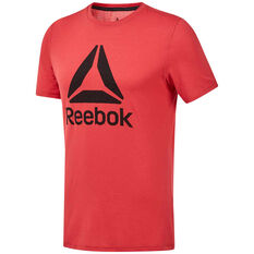 Reebok Mens Workout Ready Supremium Graphic Tee Red S, Red, rebel_hi-res
