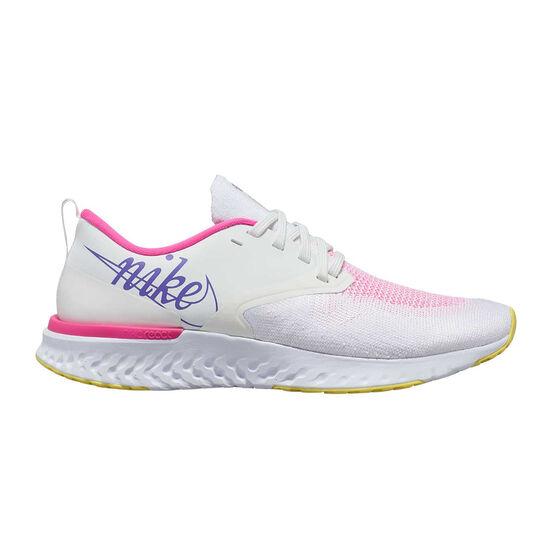 Nike Odyssey React Flyknit 2 Womens Running Shoes, White / Purple, rebel_hi-res