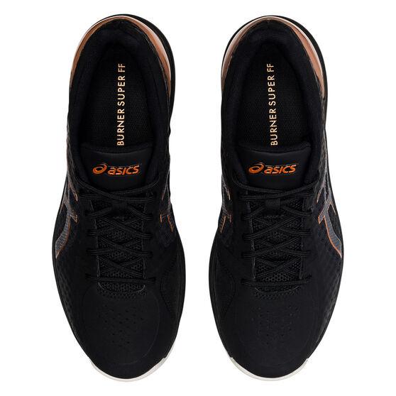 Asics Netburner Super FF Womens Netball Shoes, Black/Bronze, rebel_hi-res