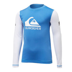 Quiksilver Boys Heats On Long Sleeve Rash Vest Blue 3, Blue, rebel_hi-res