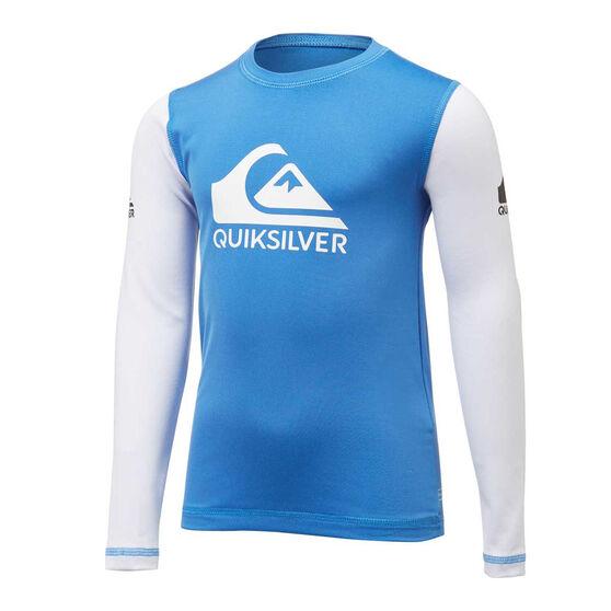 Quiksilver Boys Heats On Long Sleeve Rash Vest, Blue, rebel_hi-res