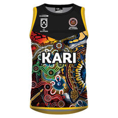 NRL Indigenous All Stars Mens 2021 Training Singlet Black M, Black, rebel_hi-res