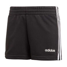 adidas Girls 3 Stripes Shorts Black / White 6, Black / White, rebel_hi-res