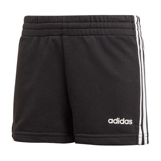 adidas Girls 3 Stripes Shorts, Black / White, rebel_hi-res