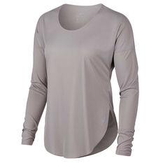 Nike Womens City Sleek Running Top Grey XS, Grey, rebel_hi-res