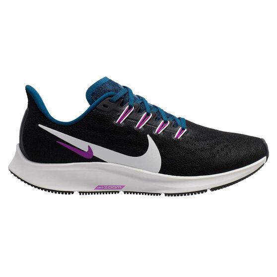 Nike Air Zoom Pegasus 36 Womens Running Shoes, Black / White, rebel_hi-res