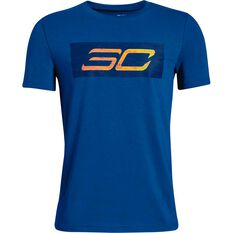 Under Armour Boys SC30 Logo Tee Royal Blue XS, Royal Blue, rebel_hi-res