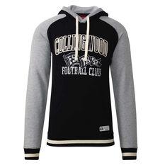 Collingwood Magpies Mens Collegiate Pullover Hoodie Black S, Black, rebel_hi-res
