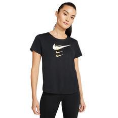 Nike Womens Swoosh Run Tee Black XS, Black, rebel_hi-res