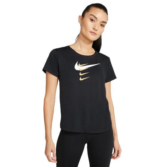 Nike Womens Swoosh Run Tee, Black, rebel_hi-res