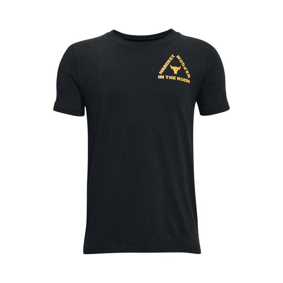 Under Armour Boys Project Rock Live HWITR Tee, Grey/Gold, rebel_hi-res