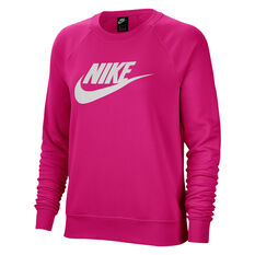 Nike Womens Sportswear Essential Fleece Sweatshirt Pink XS, Pink, rebel_hi-res