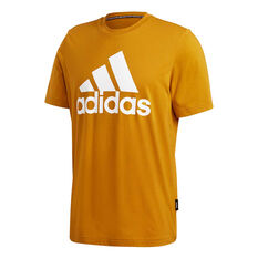 adidas Mens Must Haves Badge of Sport Tee Yellow S, Yellow, rebel_hi-res