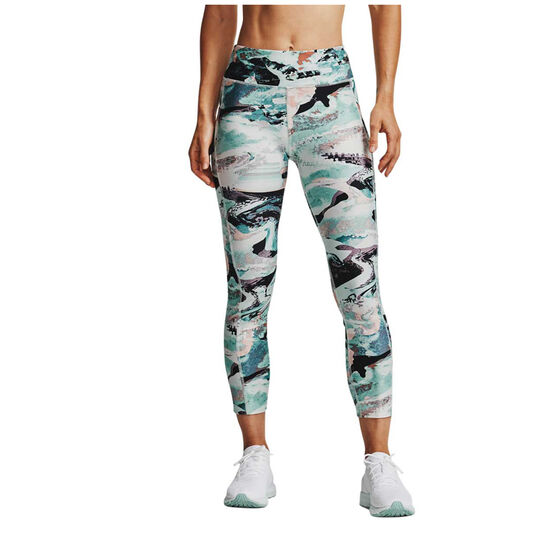 Under Armour Womens HeatGear Printed Ankle Crop Tights, Blue, rebel_hi-res