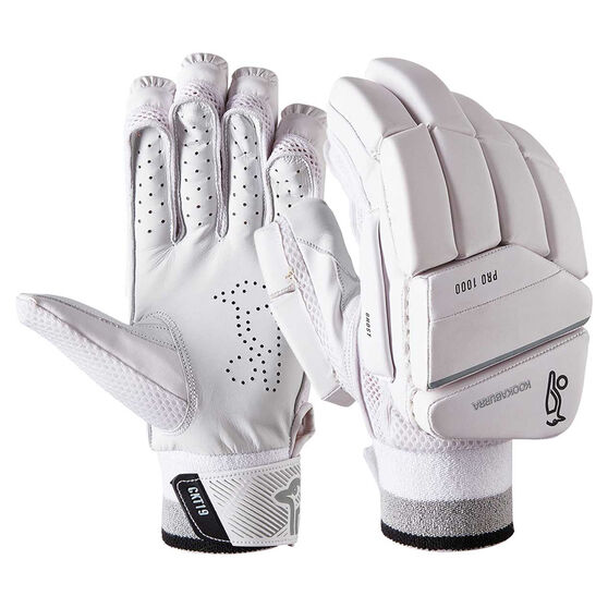 Kookaburra Ghost Pro 1000 Junior Cricket Batting Gloves, White / Silver, rebel_hi-res