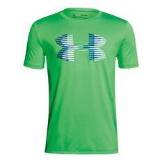 Under Armour Boys Big Logo Solid Tee Green / White XS, Green / White, rebel_hi-res