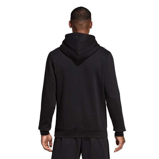 adidas Mens Essentials 3 Stripes Hoodie Black / White S, Black / White, rebel_hi-res