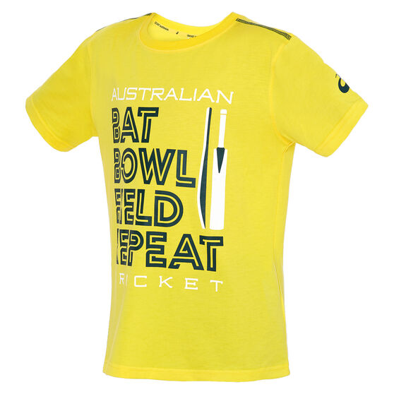 Cricket Australia 2019/20 Kids Bat Bowl Tee Yellow 12, Yellow, rebel_hi-res