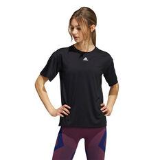 adidas Womens Training 3-Stripes Aeroready Tee Black XS, Black, rebel_hi-res
