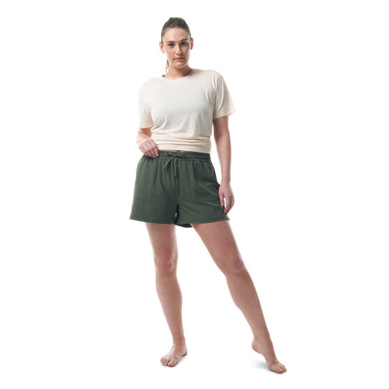 Ell & Voo Womens Meadow Relaxed Fit Shorts, Thyme, rebel_hi-res