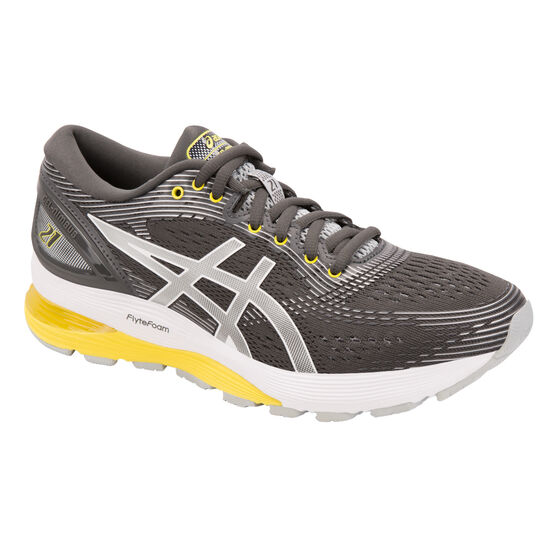 Asics Womens GEL Nimbus 21 Running Shoes Grey / Yellow US 6, Grey / Yellow, rebel_hi-res