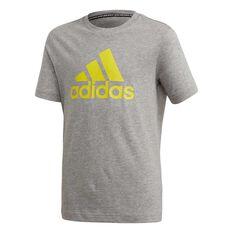 adidas Boys Must Have Badge of Sport Tee Grey / Yellow 8, Grey / Yellow, rebel_hi-res