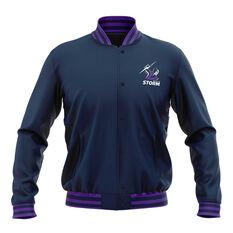 Melbourne Storm 2019 Mens Club Varsity Jacket Navy S, Navy, rebel_hi-res
