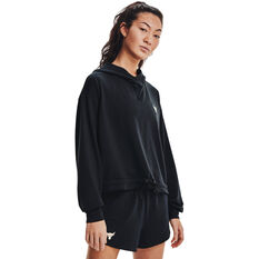 Under Armour Womens Project Rock Terry Pullover Hoodie, Black, rebel_hi-res