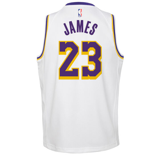 Nike Los Angeles Lakers LeBron James Association 2019 Kids Swingman Jersey, White / Blue, rebel_hi-res