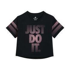 Nike Girls Youth Crop Tee Black / Pink XS, Black / Pink, rebel_hi-res