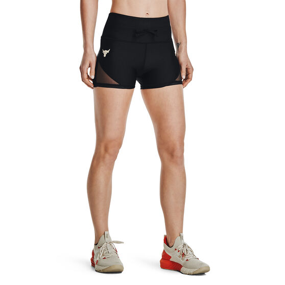 Under Armour Womens Project Rock DC Shorty Shorts, Black, rebel_hi-res