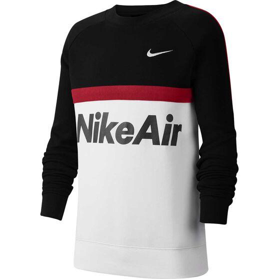 Nike Air Boys Fleece Crew Sweatshirt, Black / White, rebel_hi-res