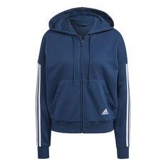 adidas Womens Full Zip 3 Stripes Fleece Hoodie Navy XS, Navy, rebel_hi-res