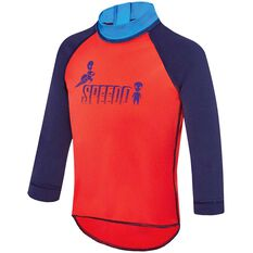 Speedo Toddler Boys Long Sleeve Sun Top Red 2, Red, rebel_hi-res