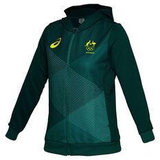 Asics Womens Australian Olympic Village Hoodie Green 8, Green, rebel_hi-res
