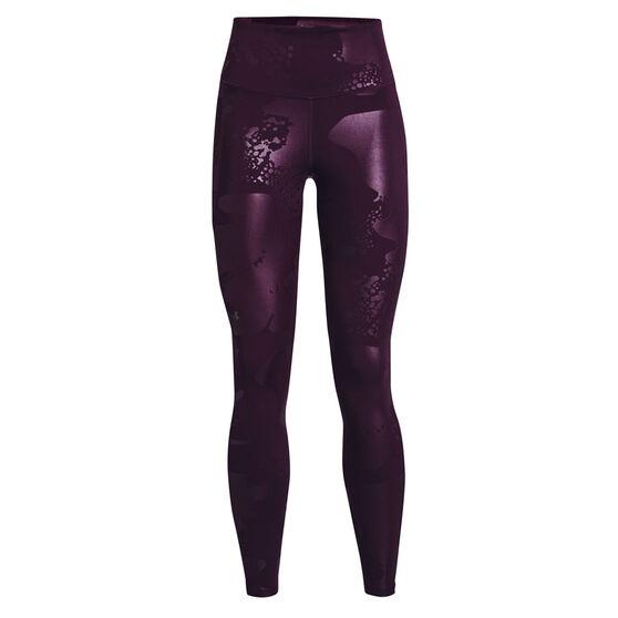 Under Armour Womens UA Rush No Slip Tonal Full Length Tights, Purple, rebel_hi-res