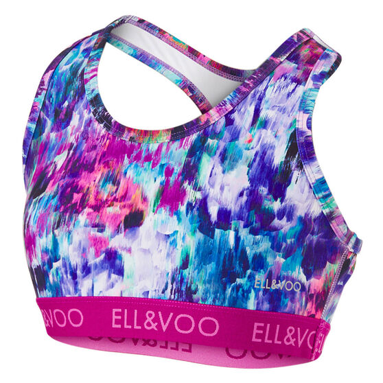 Ell & Voo Girls Natalie Elastic Crop Top, Multi, rebel_hi-res