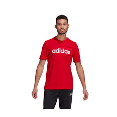 adidas Mens Essentials Linear Logo Tee Red S, Red, rebel_hi-res