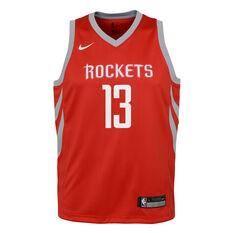 Nike Houston Rockets James Harden Icon 2019 Kids Swingman Jersey Red S, Red, rebel_hi-res