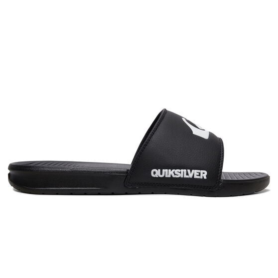 Quiksilver Bright Coast Mens Slides, Black/White, rebel_hi-res