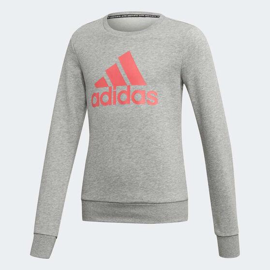 adidas Girls Must Haves Badge of Sport Crew Sweatshirt, Grey / Pink, rebel_hi-res