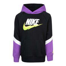 Nike Boys G4G FT Blocked Hoodie Black/Purple 4 4, Black/Purple, rebel_hi-res