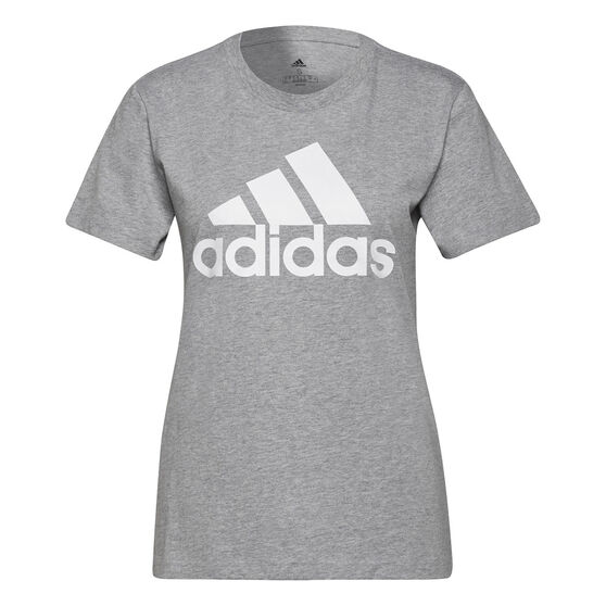 adidas Womens Loungewear Essentials Logo Tee, Grey, rebel_hi-res